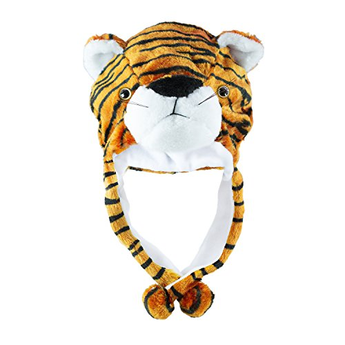 Tiger Cute Plush Animal Winter Ski Hat Beanie Aviator Style Winter (Tiger Costume Men)