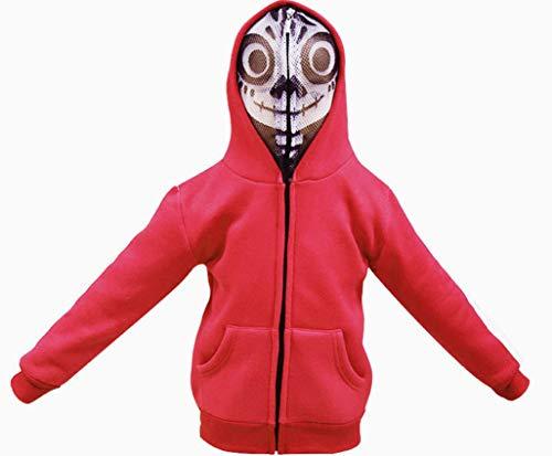HalloweenCostumeParty Halloween Strange Ghost Hoodie Jacket Sweatshirt Zipper with Mask for Kids (11) Red ()