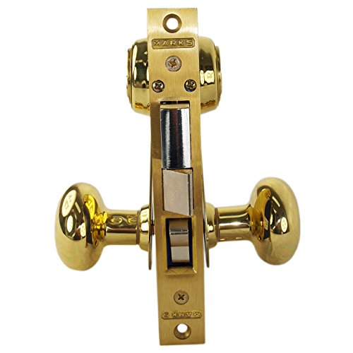 Marks 21AC/3-W-LH Brass Left Hand Ornamental Unilock Knobe/Plate Mortise Entry Lockset Iron Gate Door Double Cylinder Lock Set