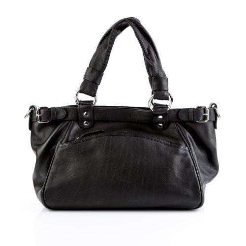 BACCINI cartera ROSALIE: bolso de hombro para mujer XXL - estilo tote-bag de cuero negro - (23 x 18 x 16cm)