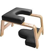 Restiral Life yoga-hoofdstandkruk, yoga-hoofdstandstoel voor thuis en in de sportschool, hout en PU-bekleding, verlichting van vermoeidheid en lichaamsbouw (zwart)