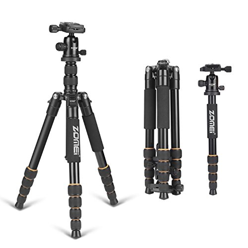 ZOMEI F678 Aluminum Tripod,Professional Stable Portable Lightweight Travel Compact Tripod Monopod with Ball Head Heavy Duty for Nikon Canon Sony All DSLR and Digital Camera