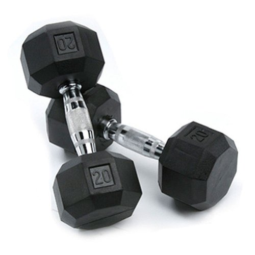 SPRI Deluxe Rubber Dumbbells (Sold as set of 2) (20-Pound)