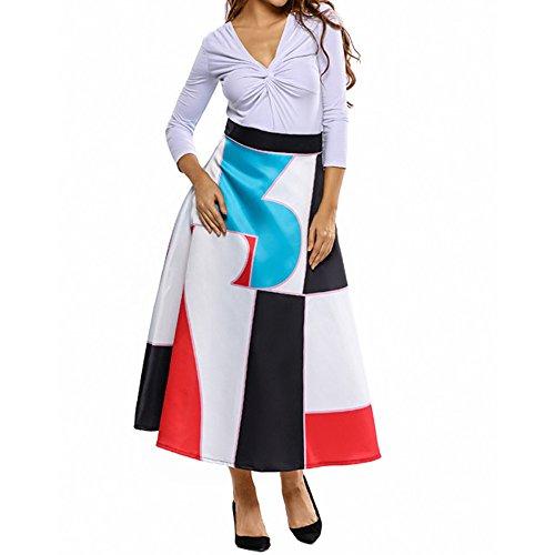 - Eiffel Women's Flower Print Colorblock High Waist A-line Swing Maxi Skirt Dress
