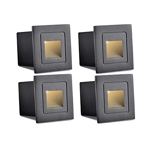 - INHDBOX Waterproof Corner/Deck/Recessed Step Lights,3W 85-220V 3200K LED Stairs Step Night Light Indoor/Outdoor Wall Lighting-Warm White Light (Black- 4 Pack)
