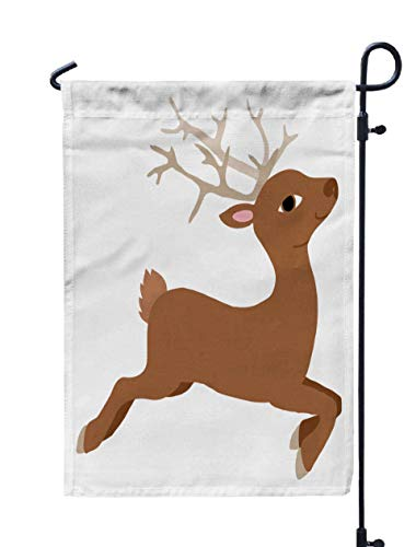 (Shorping Welcome Garden Flag, 12x18Inch Lovely Flat The Baby Deer Jumping Running for Holiday and Seasonal Double-Sided Printing Yards)