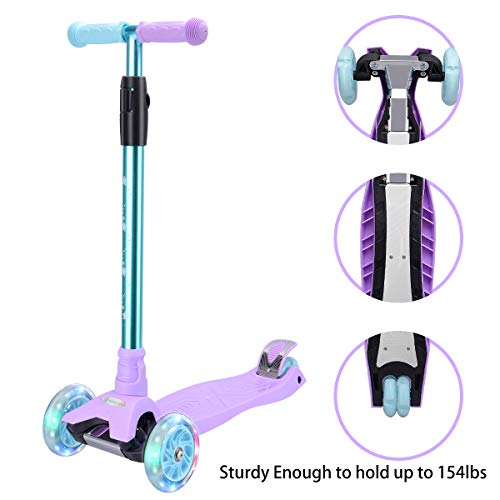 WV WONDER VIEW WonderView Kick Scooter Kids 3 Wheel Scooter, 4 Height Adjustable Pu Wheels Extra Wide Deck Best Gifts Kids, Boys Girls, Purple (Girls Purple Electric Scooter)