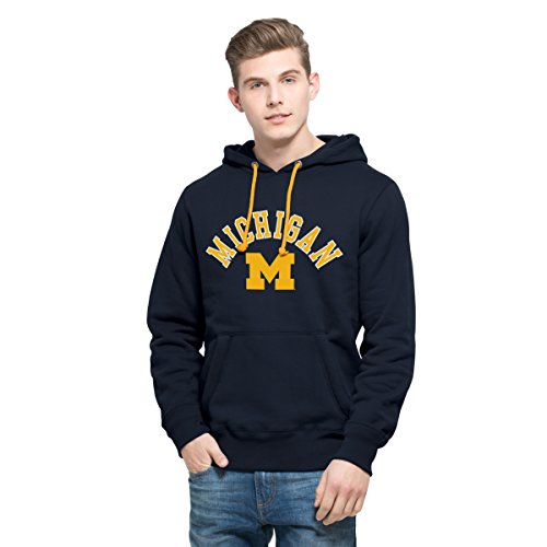 '47 NCAA Michigan Wolverines Men's Cross Check Printed Hoodie, Large, Fall Navy (Mens Sweatshirt Hoodie Cross)
