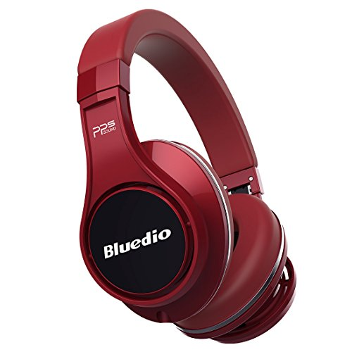 Bluedio U (UFO) PPS 8 Drivers High-End Bluetooth headphones Revolution/3D Sound Effect/Aluminum alloy build/Hi-Fi Rank wireless&wired Over-Ear headsets with carrying hard case Gift-package (Red)