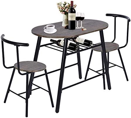 GreenForest Dining Table Set 3-Piece Rustic Breakfast Bistro Pub Table with 2 Chairs for Kitchen and Restaurant, Walnut