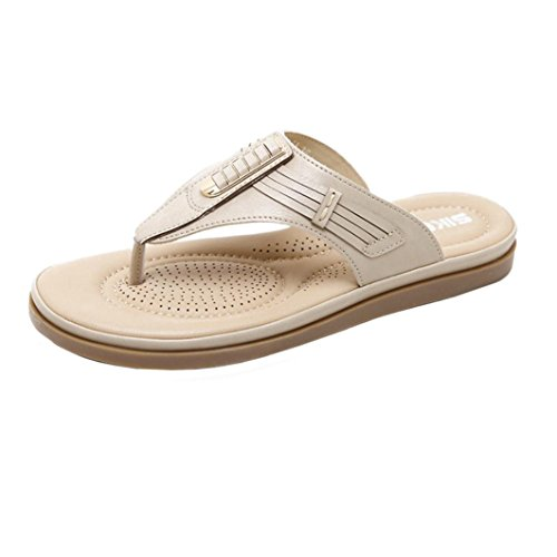 S&H-NEEDRA Mode Frauen Sandalen Sommer Böhmen Schuhe Wedges Weave Middle Heel Sandalen Kh
