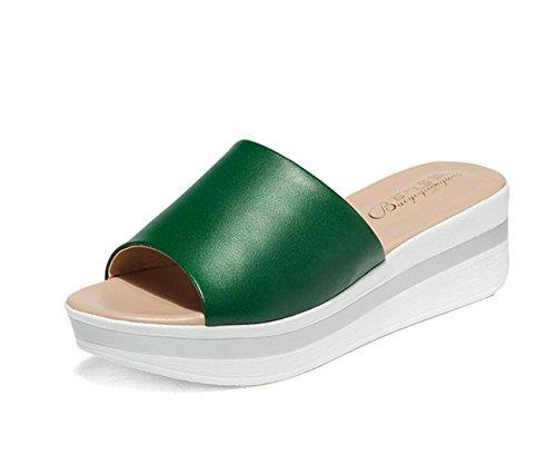 DANDANJIE Zapatos de Mujer de Cuero de Vaca Confort Sandalias Enredaderas para Casual Negro Verde Rojo Blanco Talla 34-43 Zapatos caseros Verde