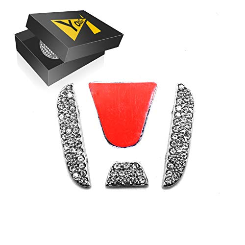 YaaGoo Bling Crystal Sitff Decoration of Steering Wheel for Civic Accord Honda etc Emblem Sticker ()