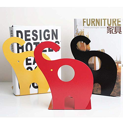 BALUZ Metal Bookends Cute Cartoon Elephant Shape Nonskid for Kids Children Library School Office Study Gift 1 Pair by BALUZ (Image #1)
