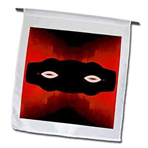 Jos Fauxtographee Abstract - A Mask of Black on an Orange Backdrop from the Computer - 12 x 18 inch Garden Flag (fl_57431_1)