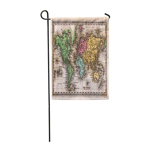 Tarolo Decoration Flag Old 1835 Antique Carey World Map Vintage Geographic Latitude Political Atlas Thick Fabric Double Sided Home Garden Flag 12