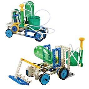 Build 15 air and water powered models including a tank and an excavator