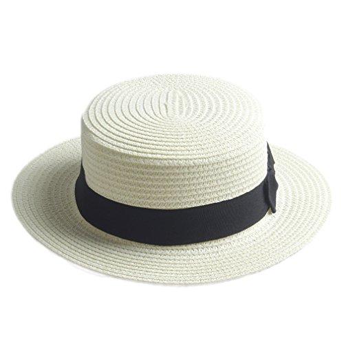 Elee Fashion Women Men Summer Straw Boater Hat Boonie Hats Beach Sunhat Bowler Caps (Ivory)