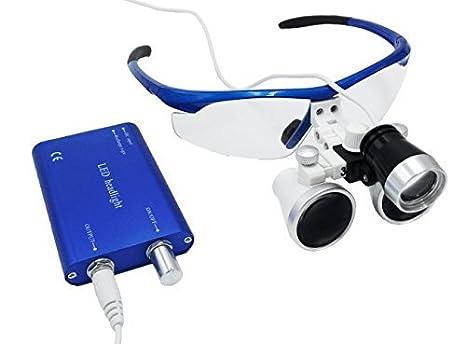 d4999f615b2484 3.5 x 420 mm Distance de travail chirurgical Jumelles loupes en verre  optique avec LED Head Light Lampe et boîte en aluminium Bleu par Hot  dentaire  ...