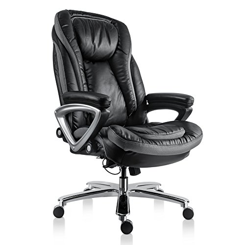Chair Leather Black (Bonum Executive Office Chair Thick Padding Big & Tall 500lb Capacity Size with Soft Spring Pack Padding High-Back Bonded Leather Chair (Black))