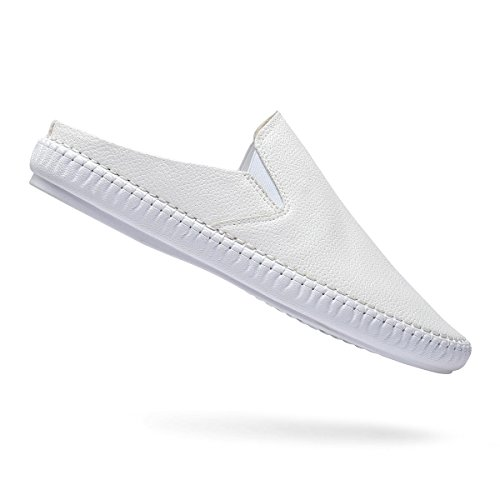 57b91f93eb97 Artisure Men s Classic Handsewn White Genuine Leather House Office Slippers  Indoor Outdoor Comfort Slip