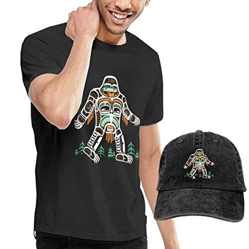 QQWBB Tribal Bigfoot Tshirt Short Sleeve Denim Hat Male