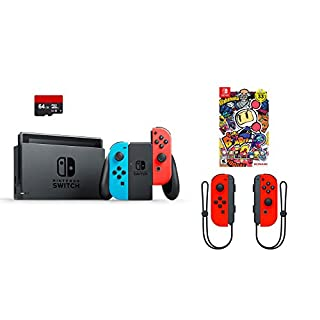 Nintendo Switch 4 items Bundle:Nintendo Switch 32GB Console Red and Blue Joy-con,64GB Micro SD Memory Card and an Extra Pair of Nintendo Joy-Con (L/R) Wireless Controllers Neon Red,Super Bomberman R