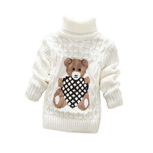 BibiCola baby girls boys autumn/winter wear warm cartoon sweaters children pullovers outerwear babi turtleneck sweater (4T, white) - Baby Turtle Costume Crochet Pattern