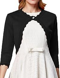 Women 3/4 Sleeves Cardigan Shrug Knit Bolero by