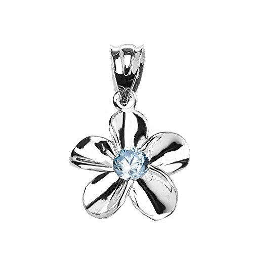 Collier Femme Pendentif 14 Ct Or Blanc Hawaiienne Plumeria Bleu Zircon Élégant (Livré avec une 45cm Chaîne)