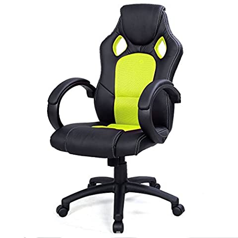 High Back Race Car Style Bucket Seat Office Desk Chair Gaming Chair Green - Tufted Zebra Rug