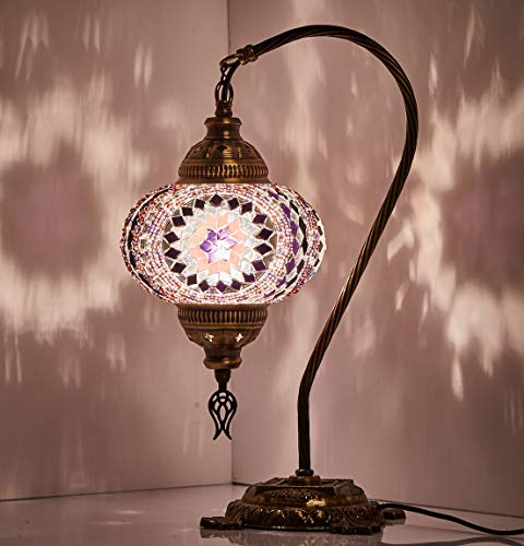 ((18 Variations) Newest CopperBull 2018 Turkish Moroccan Tiffany Style Handmade Mosaic Table Desk Bedside Night Swan Neck Lamp Light Lampshade, 42cm (11))