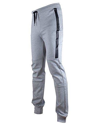 Mens Young Apparel (SCREENSHOT-P11850 Mens Hip Hop Premium Slim Fit Bottoms - Spandex Elastic Wasteband with Drawstring & Side Trim-H.Grey-Medium)