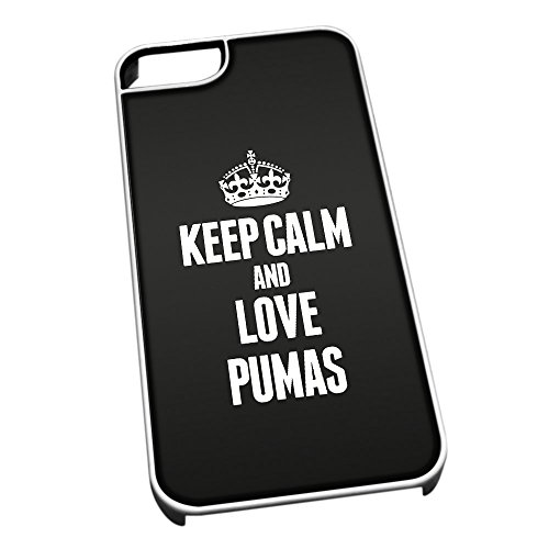 Bianco cover per iPhone 5/5S 2470nero Keep Calm and Love Pumas