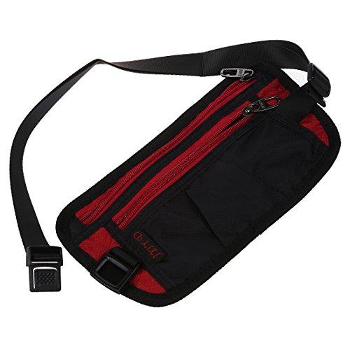 SODIAL(R) Poliestere sacchetto della vita marsupio Zipper Nero rosso per Uomini donne