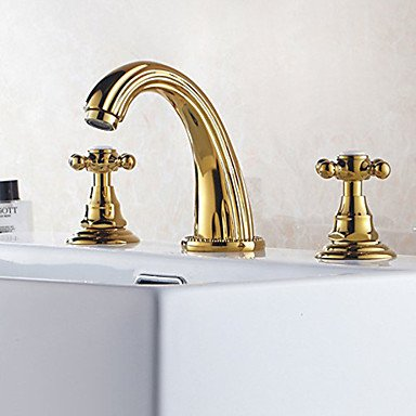 Widespread Bathroom Sink Faucet with Low Cross Handles and Low Gooseneck Spout, Vibrant Moderne Polish Gold