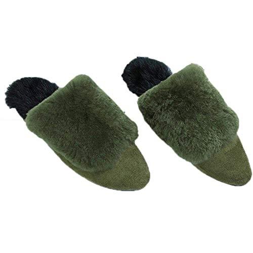 Mujer Chanclas Conejo El color De Yingsssq invierno Zapatillas Verde Felpa Con Zapatos 36 Piel Casa Tamaño Para Otoño Gris tSxnYzdY