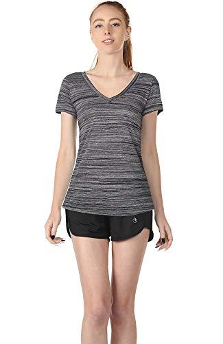 icyzone T-Shirt pour Femmes /à Manches Courtes et col en V Respirant Yoga Sports Tees Lot de 2