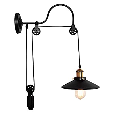 OYI Industrial Wall Sconces, 1 Light Gooseneck Wall Light Fixture Adjustable Pulley Wheel Wall Mounted Lamp E26 Socket