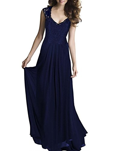 Women's Floral Lace Retro 1920'S Royal Style Formal Long Dress (Navy Blue,XL) - Navy Blue Floor