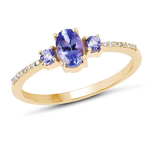 14K Yellow Gold Tanzanite & White Diamond Ring (0.63 ctw, I-J Color, I2-I3 Clarity) from Johareez (Tanzanite Gold Ring Jewelry White)