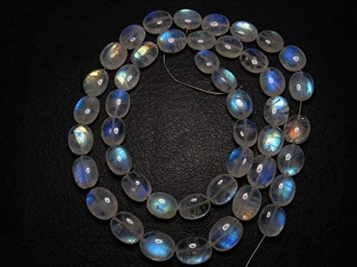 Jewel Beads Gems-Jewellery Awesome - AAAA - High Quality So Gorgeous - Rainbow MOONSTONE - Smooth Oval Briolett Rainbow Blue Fire huge size 8 x 9.5- mm 16 Inches