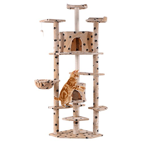 Beige Paws New 80″ Cat Tree Condo Furniture Scratch Post Pet House