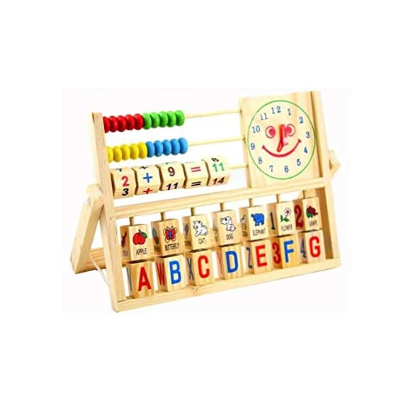Tickles New Multi-Purpose Calculating Frames Early Baby Learning Educational Wooden Toys Clock Versatile Abacus Flap for