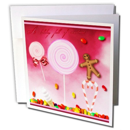 3dRose Holiday Sweets Candycane Gingerbread Man and Lollipops Greeting Cards, Set of 12 (Sweet Greetings Gingerbread)