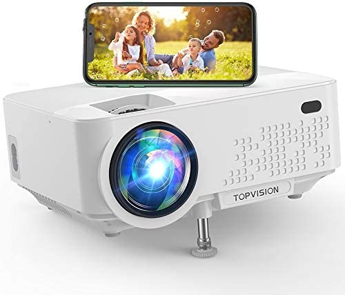 Wi-Fi Projector, TOPVISION 5500L Mini Projector with Synchronize Smart Phone Screen, Full HD 1080P Projector and 240″ Display Supported, Compatible with TV Stick, PS4, HDMI, VGA, TF, AV, USB