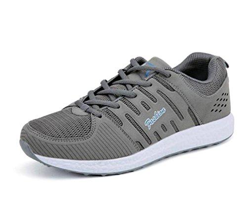 Zapatillas de entrenamiento de atletismo de malla Soles suaves Lace-up transpirable Comfortbale Hombres Zapatillas de deporte de atletismo casual clásico de la UE tamaño 35-44 medium grey