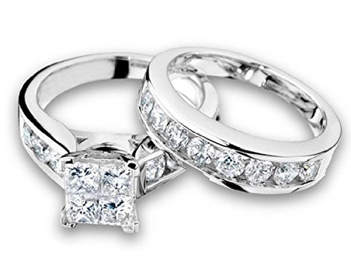 1/2 Carat (ctw) Princess Cut Diamond Engagement Rings for women and Wedding Band Set in 10K White Gold (10K-White Gold, 7)