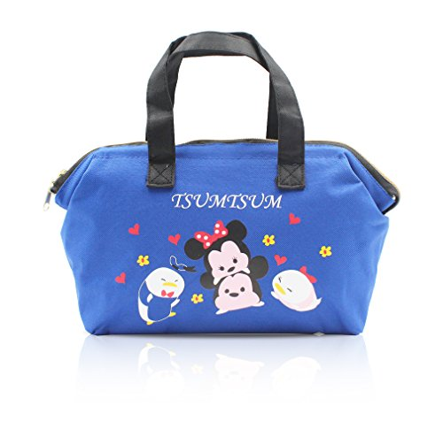 Finex Blue Tsum Tsum Insulated lining Zippered Bento Lunch Box Cooler Tote Bag with Handles