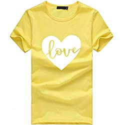 Cucuham Women Girls Plus Size Print Tees Shirt Short Sleeve T Shirt Blouse Tops Y Yellow 6 X Large